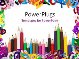 PowerPlugs: PowerPoint template with a number of color pencils with alphabets in the background