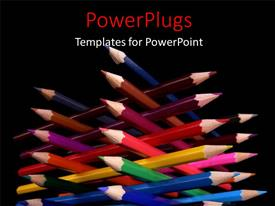 Amazing presentation theme consisting of a number of color pencils in an arrangement with blackish background