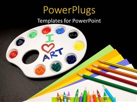PowerPoint template displaying a number of color pencils with blackish background