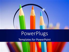 Elegant presentation theme enhanced with a number of color pencils with bluish background