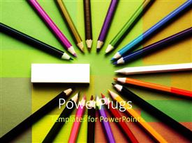 PowerPlugs: PowerPoint template with a number of color pencils creating a circle with an eraser