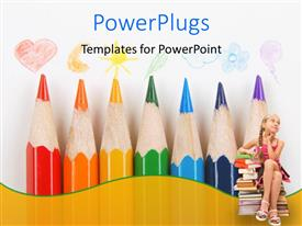 PowerPlugs: PowerPoint template with a number of color pencils with a kid