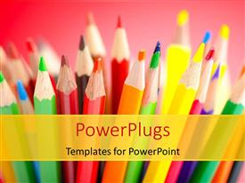 PowerPlugs: PowerPoint template with a number of color pencils with pinkish background