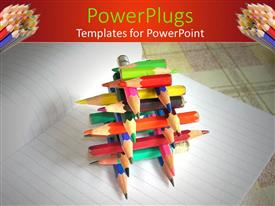 PowerPlugs: PowerPoint template with a number of color pencils together