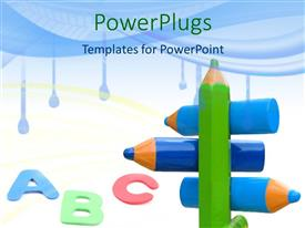 PowerPlugs: PowerPoint template with a number of color pencils together as well as English alphabets