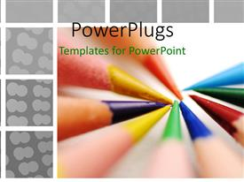 PowerPlugs: PowerPoint template with a number of color pencils together with white background