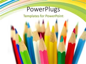 PowerPlugs: PowerPoint template with a number of color pencils with white background