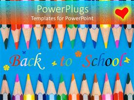 PowerPoint template displaying a number of color pencils with the words back to school in middle
