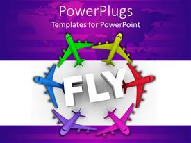 PowerPlugs: PowerPoint template with a number of colorful airplanes in a circle
