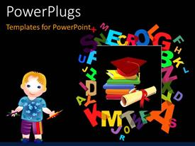 PowerPlugs: PowerPoint template with a number of colorful alphabets with blackish background