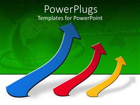 PowerPlugs: PowerPoint template with a number of colorful arrows with greenish background