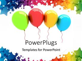 PowerPoint template displaying a number of colorful balloons with white background