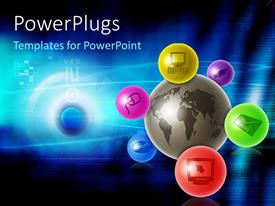 PowerPlugs: PowerPoint template with a number of colorful balls attached with the globe and bluish background