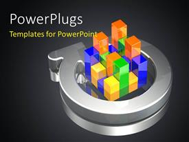 PowerPlugs: PowerPoint template with a number of colorful boxes with blackish background
