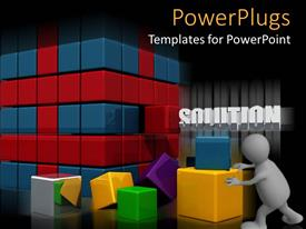 PowerPlugs: PowerPoint template with a number of colorful boxes with a blackish background