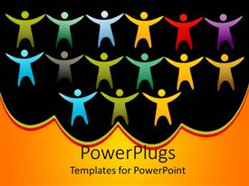 PowerPlugs: PowerPoint template with a number of colorful figures with black background