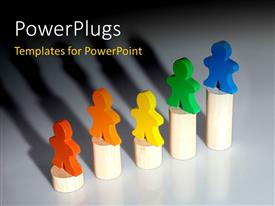 PowerPoint template displaying a number of colorful figures with bullet points and place for text