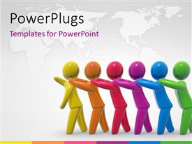 PowerPlugs: PowerPoint template with a number of colorful figures in a line with a map in the background
