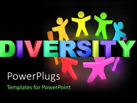 PowerPlugs: PowerPoint template with a number of colorful figures with the word diversity