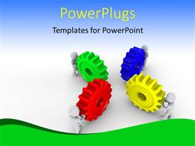 PowerPoint template displaying a number of colorful gears with bluish background and place for text