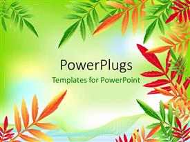 PowerPlugs: PowerPoint template with a number of colorful leaves with place for text