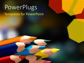 PowerPlugs: PowerPoint template with a number of colorful pencils with blurred background