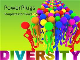 PowerPlugs: PowerPoint template with a number of colorful people with greenish background and place for text