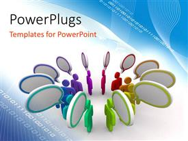 PowerPoint template displaying a number of colorful people thinking their own thoughts with bluish background