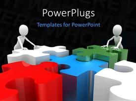 PowerPlugs: PowerPoint template with a number of colorful pieces with two people