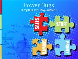 PowerPlugs: PowerPoint template with a number of colorful puzzle pieces with bluish background