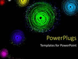 PowerPoint template displaying a  number of colorful spirals with blackish background