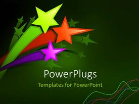 PowerPoint template displaying a number of colorful stars with greenish background
