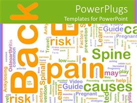 PowerPoint template displaying a number of colorful words with greenish background