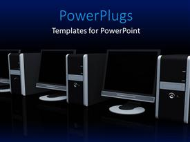 PowerPoint template displaying a number of computers in the background