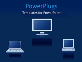 PowerPoint template displaying a number of computers and laptops with bluish background