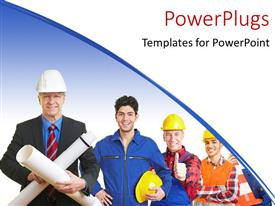 PowerPlugs: PowerPoint template with a number of construction workers with bluish background