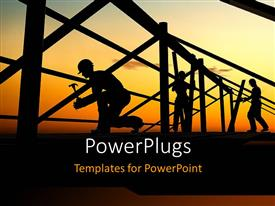 PowerPlugs: PowerPoint template with a number of construction workers building a bridge