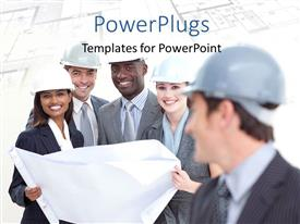 PowerPoint template displaying a number of construction workers happy