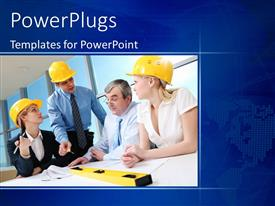 PowerPoint template displaying a number of construction workers in an office