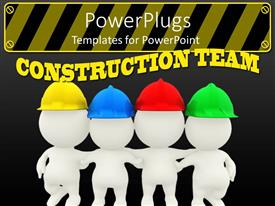 PowerPoint template displaying a number of construction workers standing together with grayish background