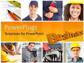 PowerPlugs: PowerPoint template with a number of construction workers with yellowish background
