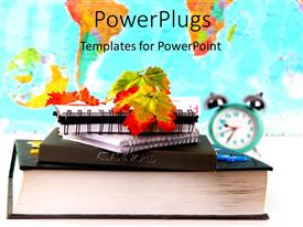 PowerPlugs: PowerPoint template with a number of copies with a clock and map in the background