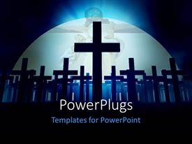 PowerPlugs: PowerPoint template with a number of crosses with the Jesus in the background