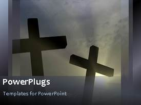 PowerPlugs: PowerPoint template with a number of crosses with sun in the background