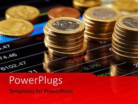 PowerPlugs: PowerPoint template with a number of currency coins one above the other