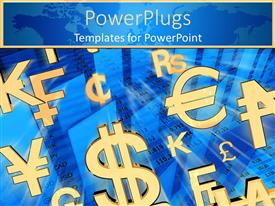 PowerPoint template displaying a number of currency signs together with bluish background