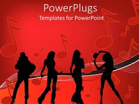 PowerPlugs: PowerPoint template with a number of dancers with music signs in the background