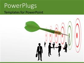 PowerPlugs: PowerPoint template with a number of dartboards with just one being hit by a dart