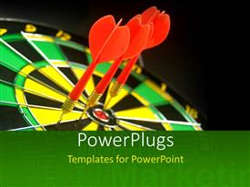 PowerPlugs: PowerPoint template with a number of darts hitting on the dartboard