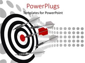 PowerPlugs: PowerPoint template with a number of darts hitting on the dartboard with place for text